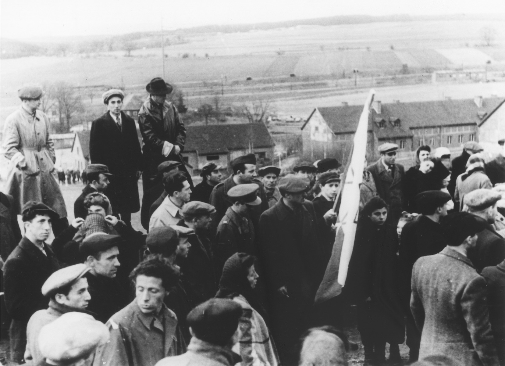 Jewish DPs at the Herzog displaced persons camp, participate in a demonstration to protest the forcible return of the Exodus 1947 immigrant ship to Europe.