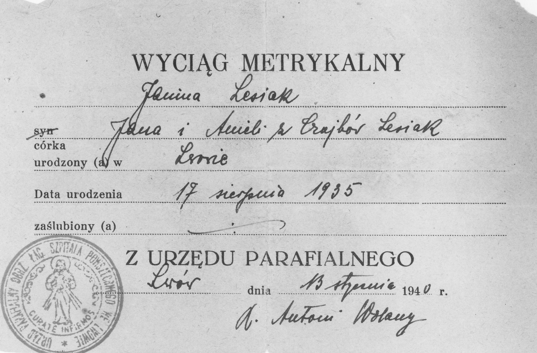 False Polish baptismal certificate issued to the Jewish child Yona Kunstler during World War II while she was in hiding under the assumed name of Yanina Lesiak.