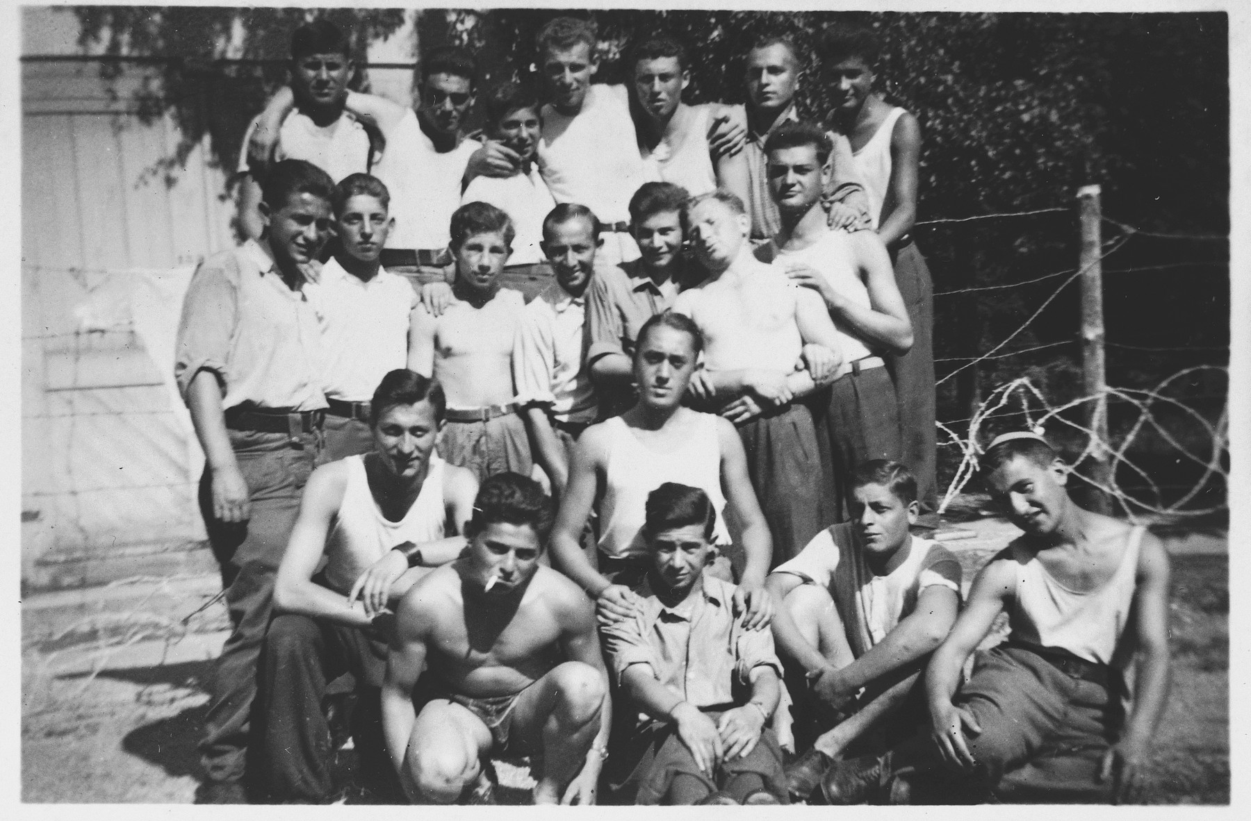 Group portrait of Jewish teenagers who came to Switzerland after their liberation from Buchenwald.  Among those pictured is Abraham Grajz.