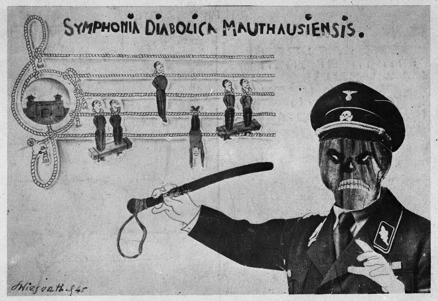 """Postcard showing a cartoon drawing entitled """"Symphonia Diabolica Mauthausiensis"""" issued on the first anniversary of the liberation of Mauthausen and [possibly drawn by Simon Wiesenthal]."""