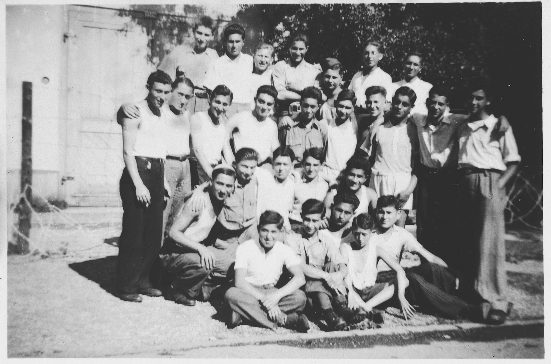 Group portrait of Jewish teenagers who came to Switzerland their liberation from Buchenwald.  Among those pictured is Abraham Grajz.