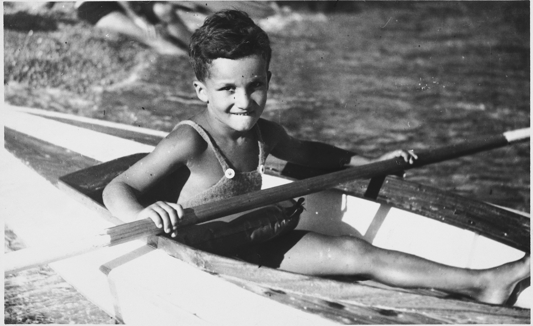 Portrait of a young Jewish boy in a kayak in Dubrovnik, Croatia.