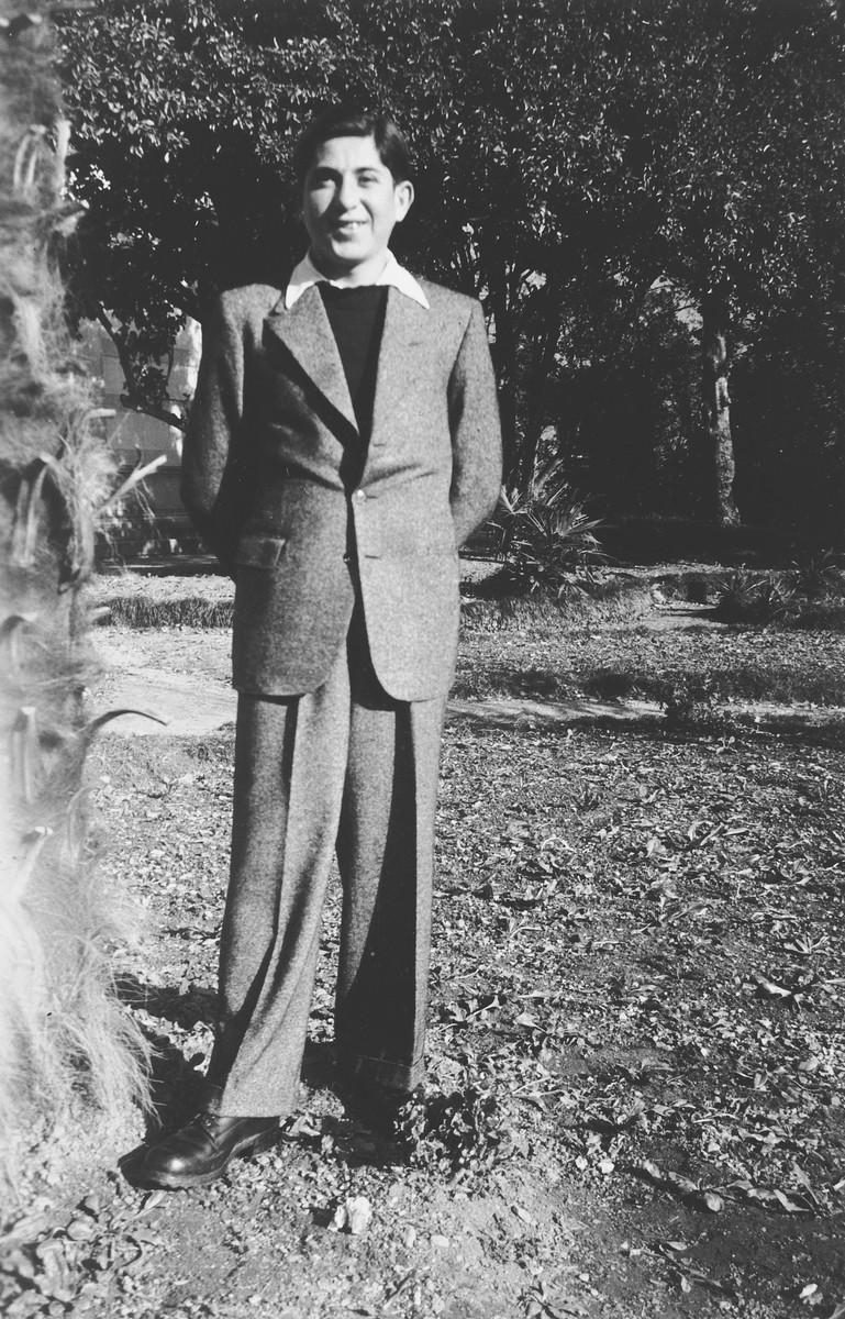 Close-up portrait of Abraham Grajz, a Jewish teenage survivor of Buchenwald after his arrival in Switzerland.