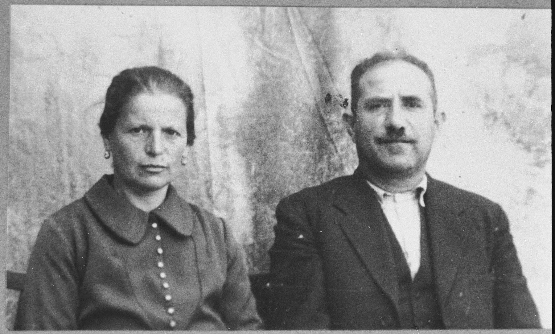 Portrait of Yuda Albocher and his wife, Ester.  He was an Innkeeper.  They lived at Sremska 13 in Bitola.