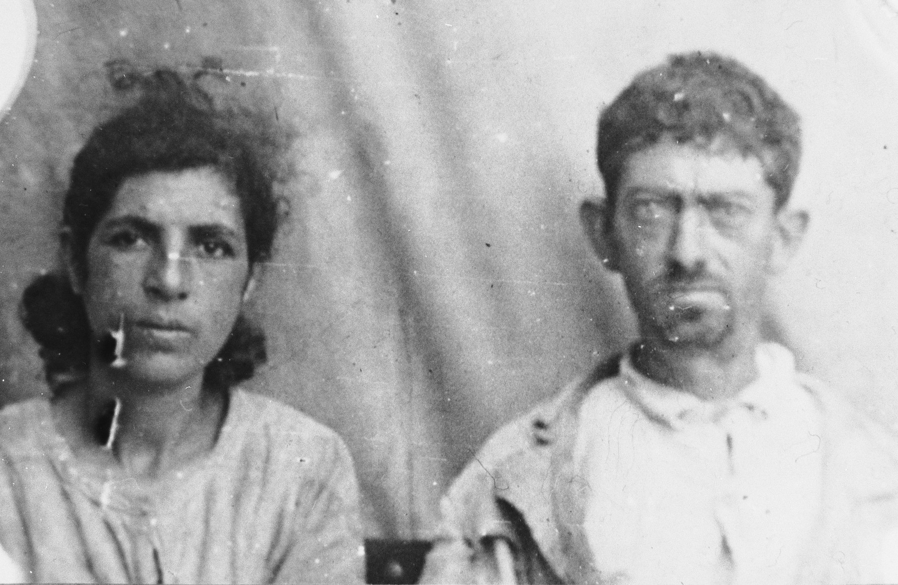 Portrait of Avram Albocher and his wife, Luna.  He was a second-hand dealer. They lived at Zmayeva 18 in Bitola.