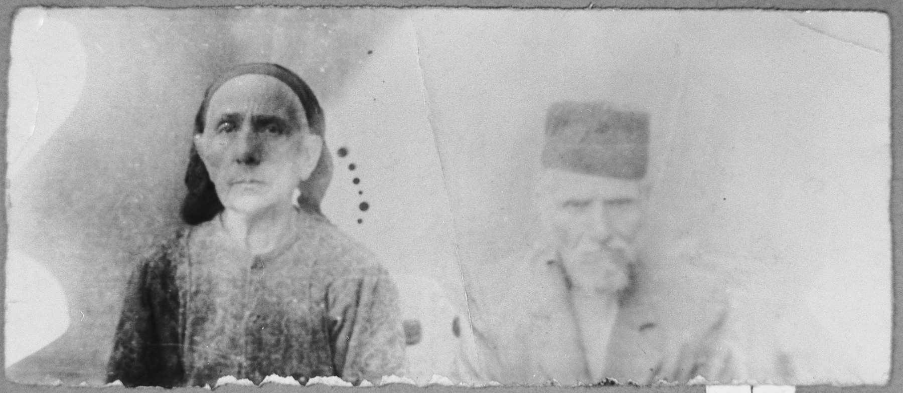 Portrait of David Aleshandra and his wife, Miriam.  He was a rag dealer.  They lived at Belika Avliya 3 in Bitola.