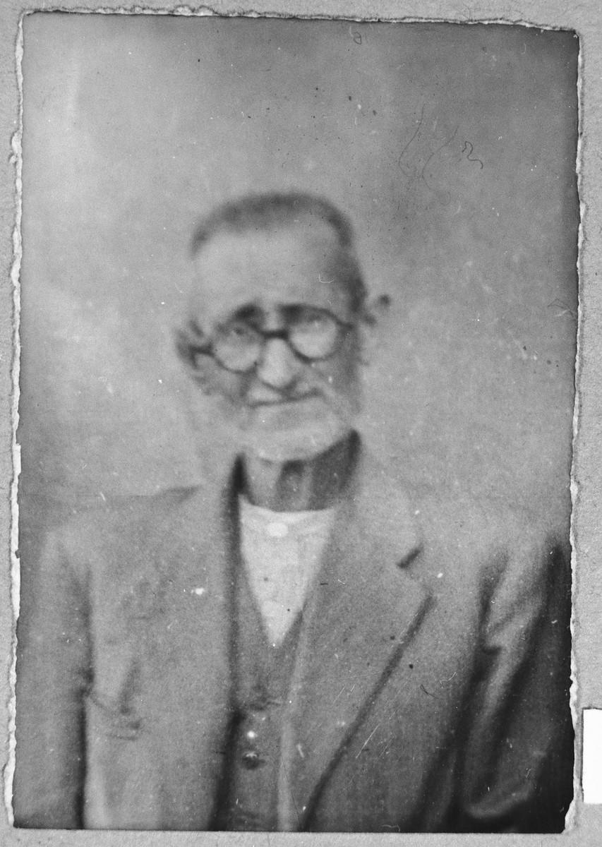 Portrait of Yanto Albaranes.  He was a flour dealer.  He lived at Asadbegova 4 in Bitola.