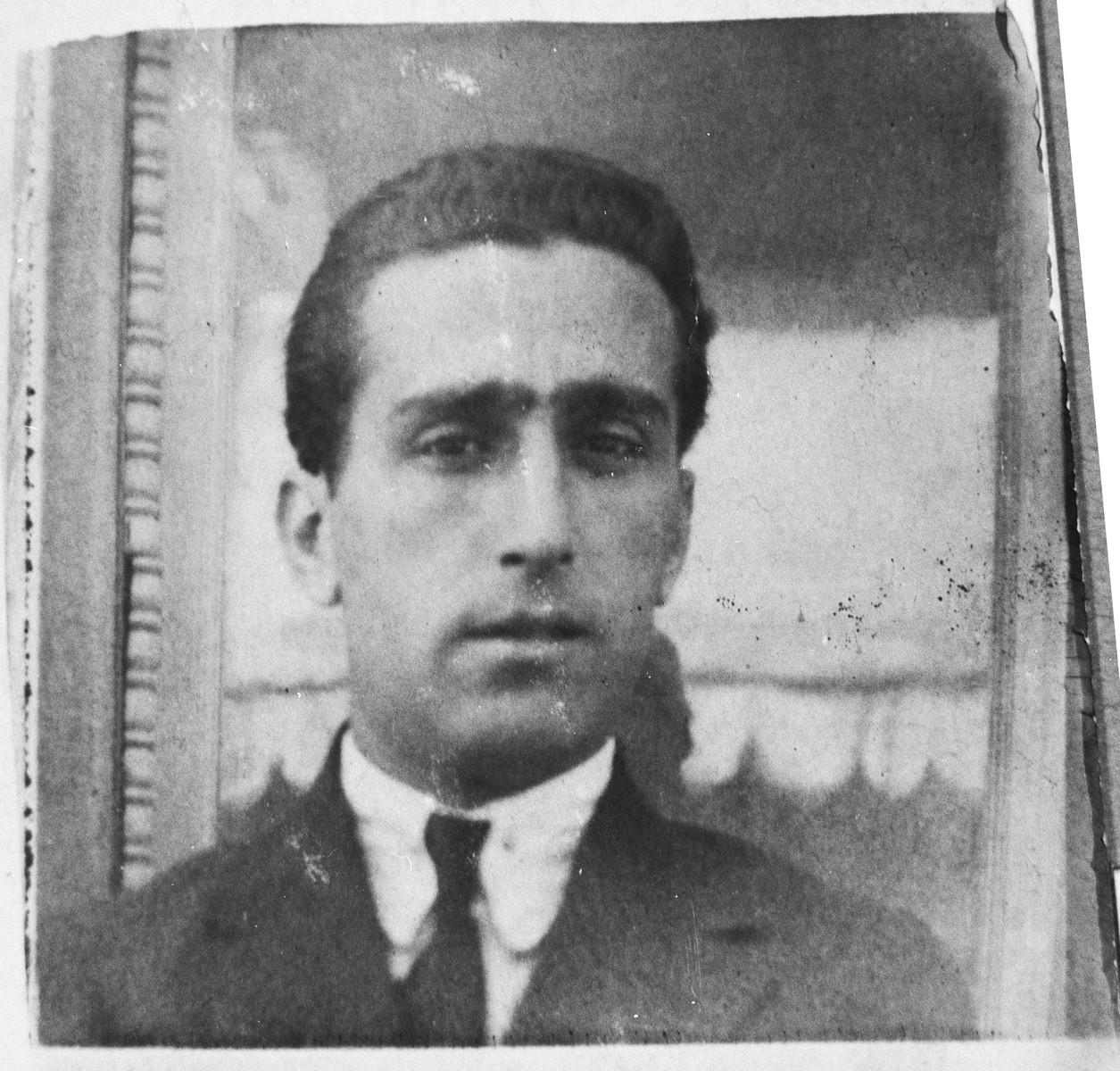 Portrait of Mair Aroesti, son of Avram Aroesti.  He was a second-hand dealer.  He lived on Zvornitska in Bitola.