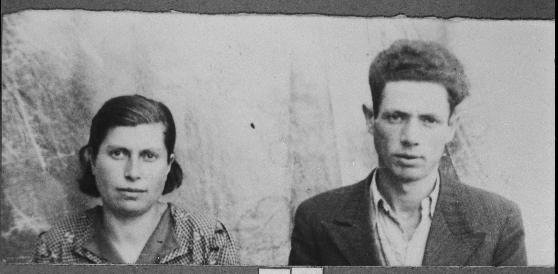 Portrait of Avram Albocher, son of Haim Albocher, and his wife, Arnesta.  He was a greengrocer.  They lived at Kossantschitscheva 20 in Bitola.
