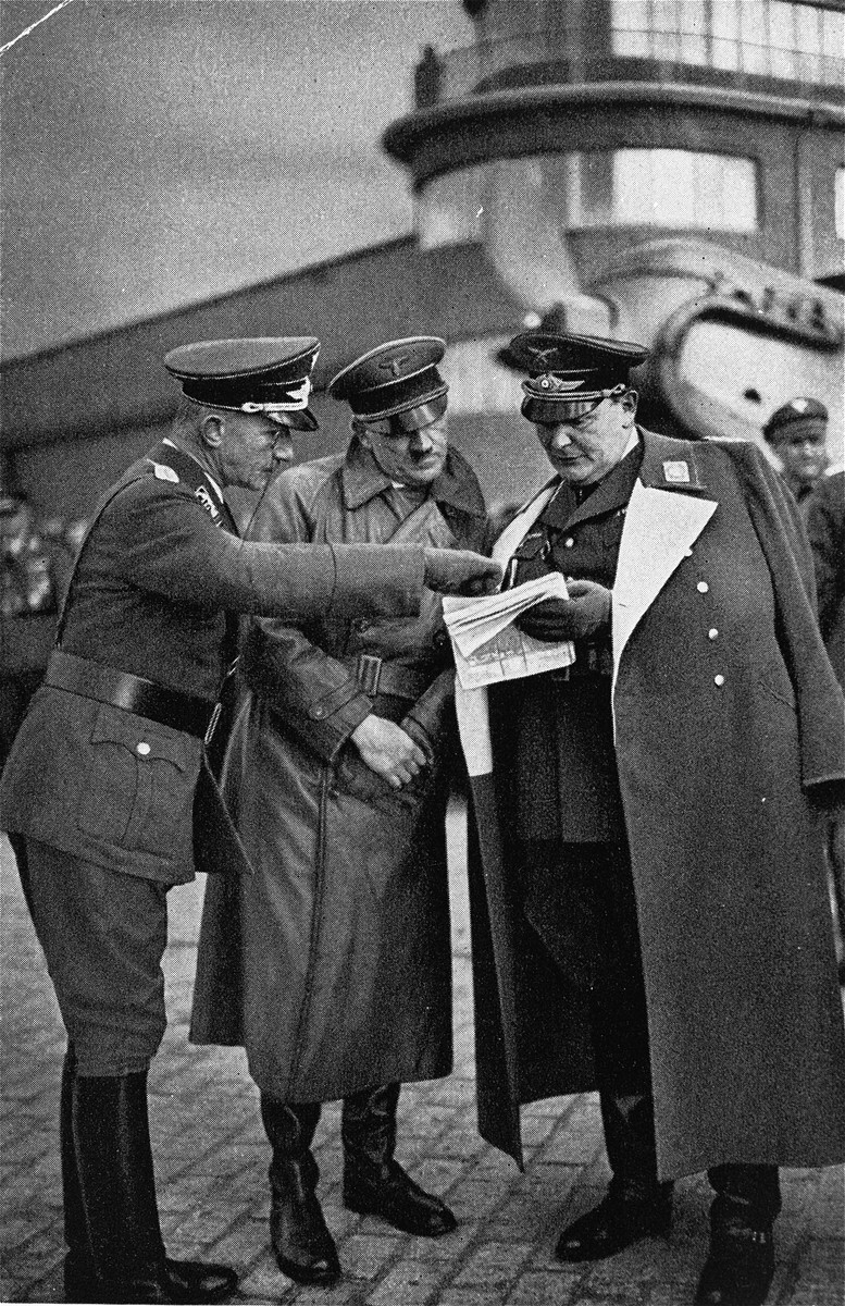 Hitler and Goering at the first inspection of the Baron von Richthofen Squadron.