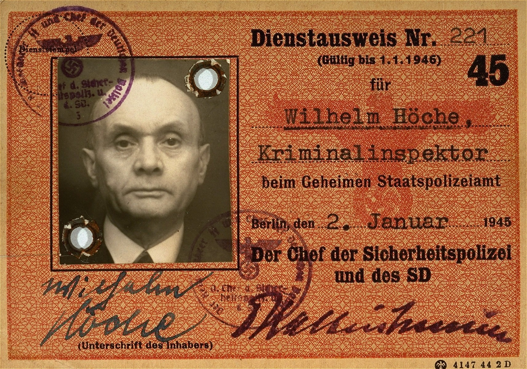 The identification card of Wilhelm Hoeche, a criminal inspector with the Gestapo.