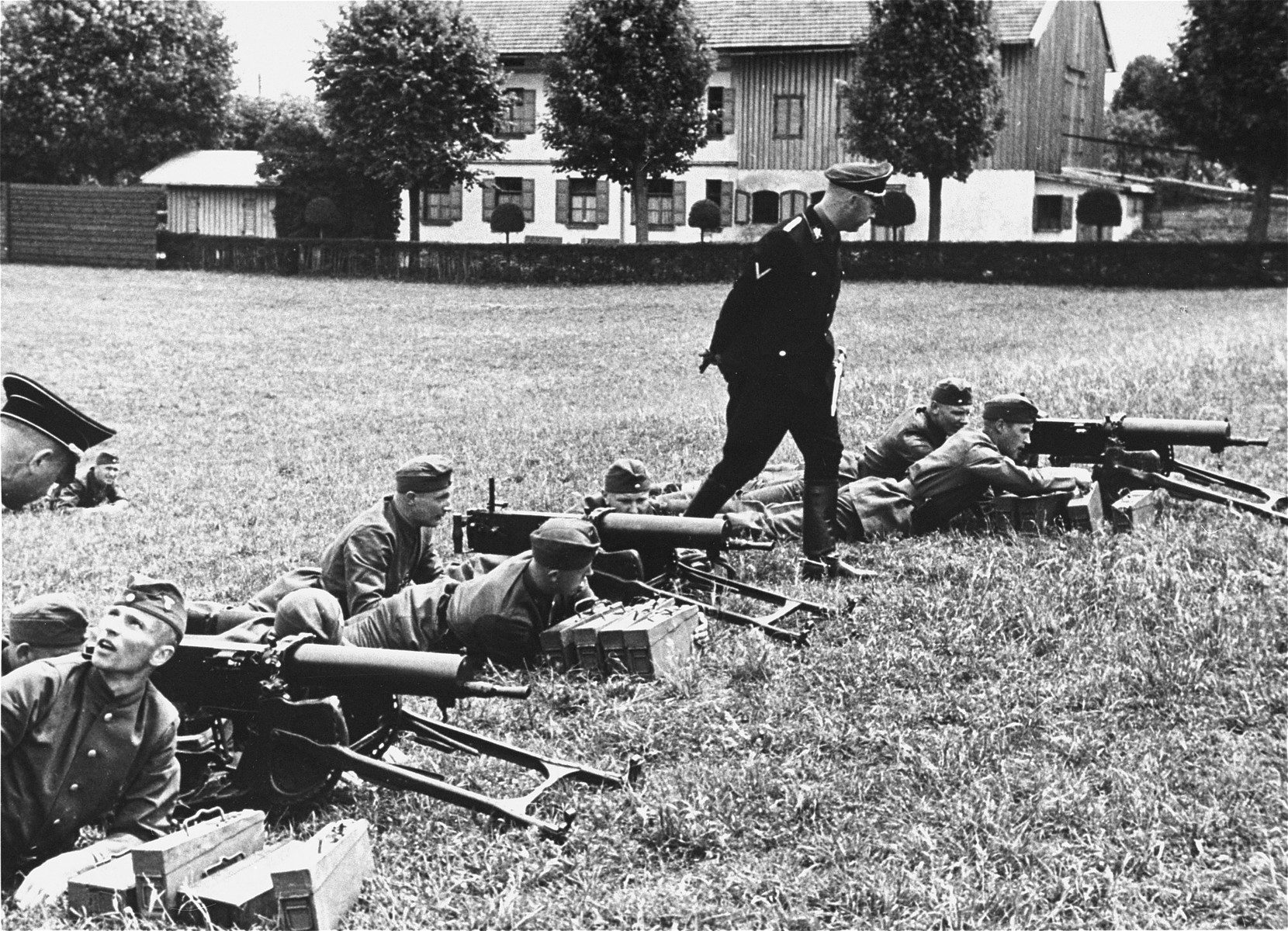 Heinrich Himmler inspects Waffen-SS troops.  This image is from an album of SS photographs.