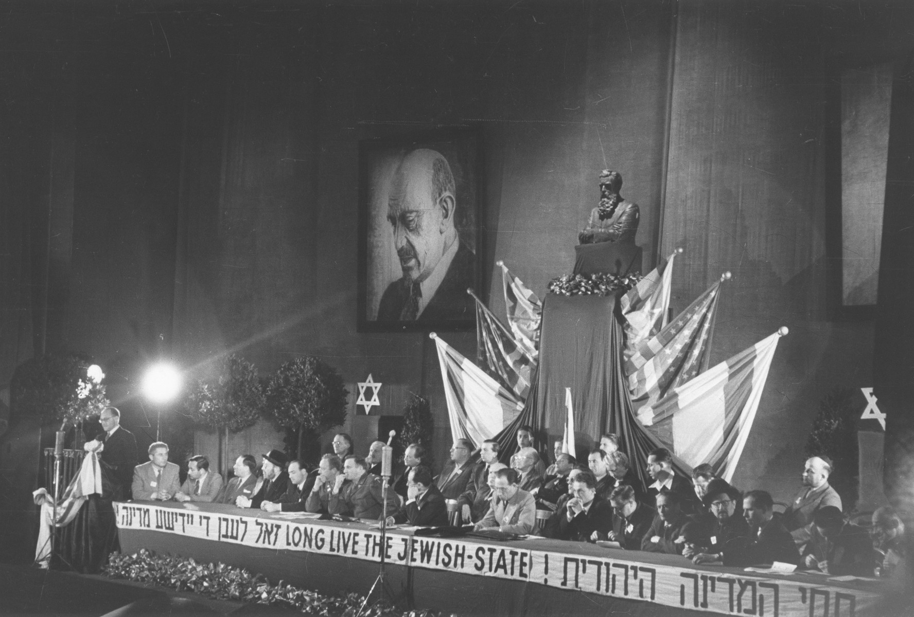 An official of the Jewish government in Palestine delivers an address to the Third Congress of the Central Committee of the Liberated Jews in the US Zone of Germany at Bad Reichenhall.