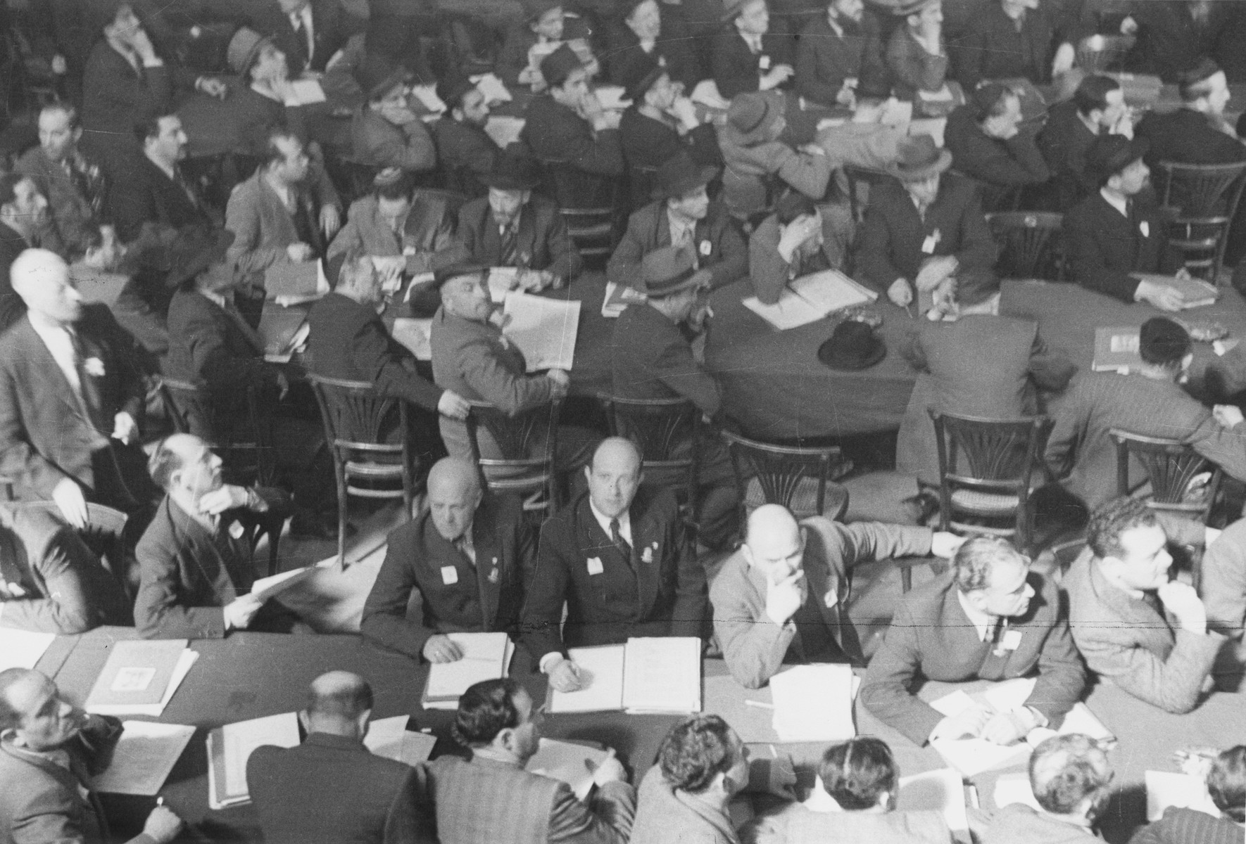 Delegates from the three occupied zones of Germany meet at the Third Congress of the Central Committee of the Liberated Jewish in the US Zone that is being held in Bad Reichenhall.  Josef Rosensaft is pictured at the bottom left-hand corner.