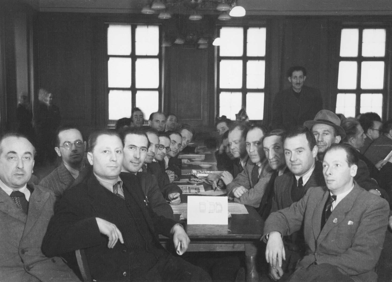 A meeting of the Central Committee of the Liberated Jews in the US Zone of Germany.