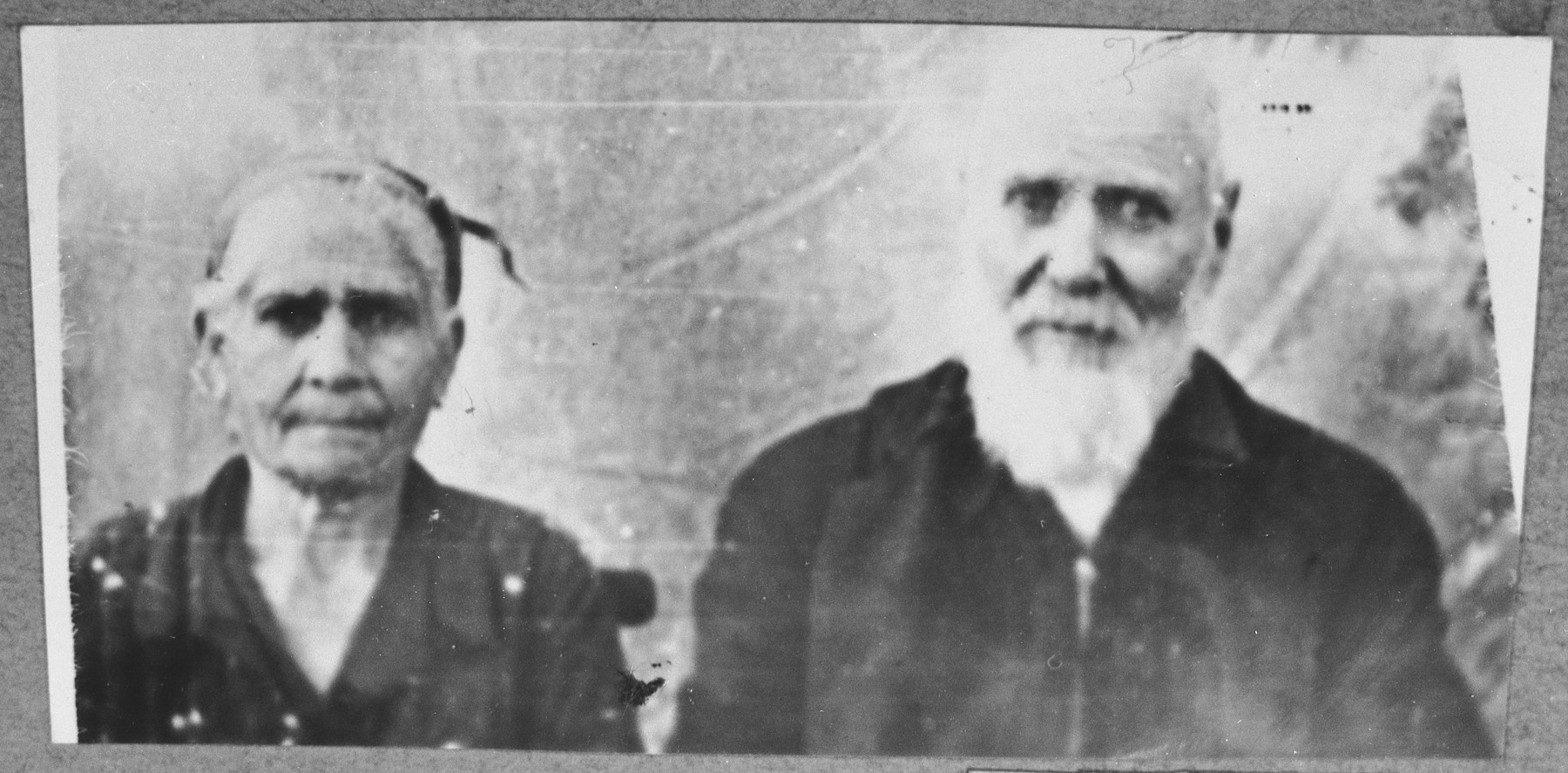 Portrait of Moshe Hasson, and his wife, Sara.  Moshe was a coal dealer.  They lived at Sinagogina 2 in Bitola.