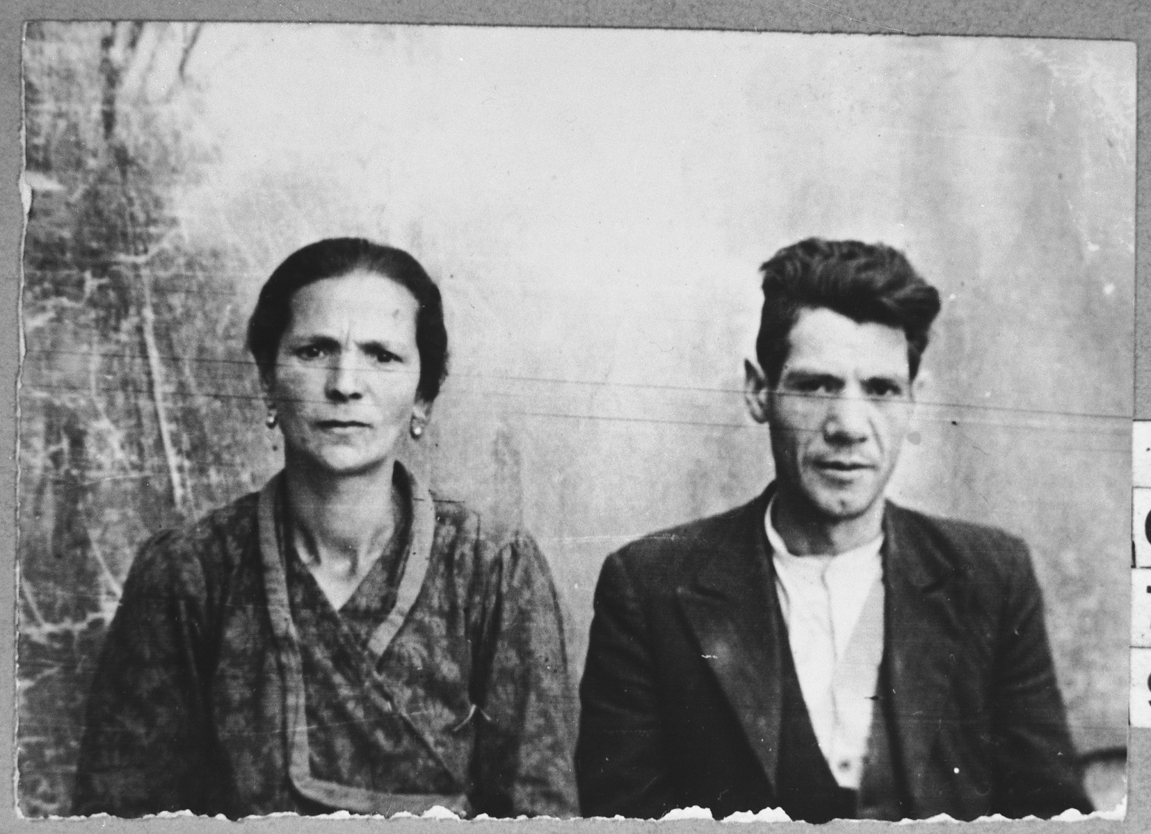 Portrait of Nissim Hasson and his wife, Palomba.  Nissim was a second-hand dealer.  They lived at Zmayeva 17 in Bitola.