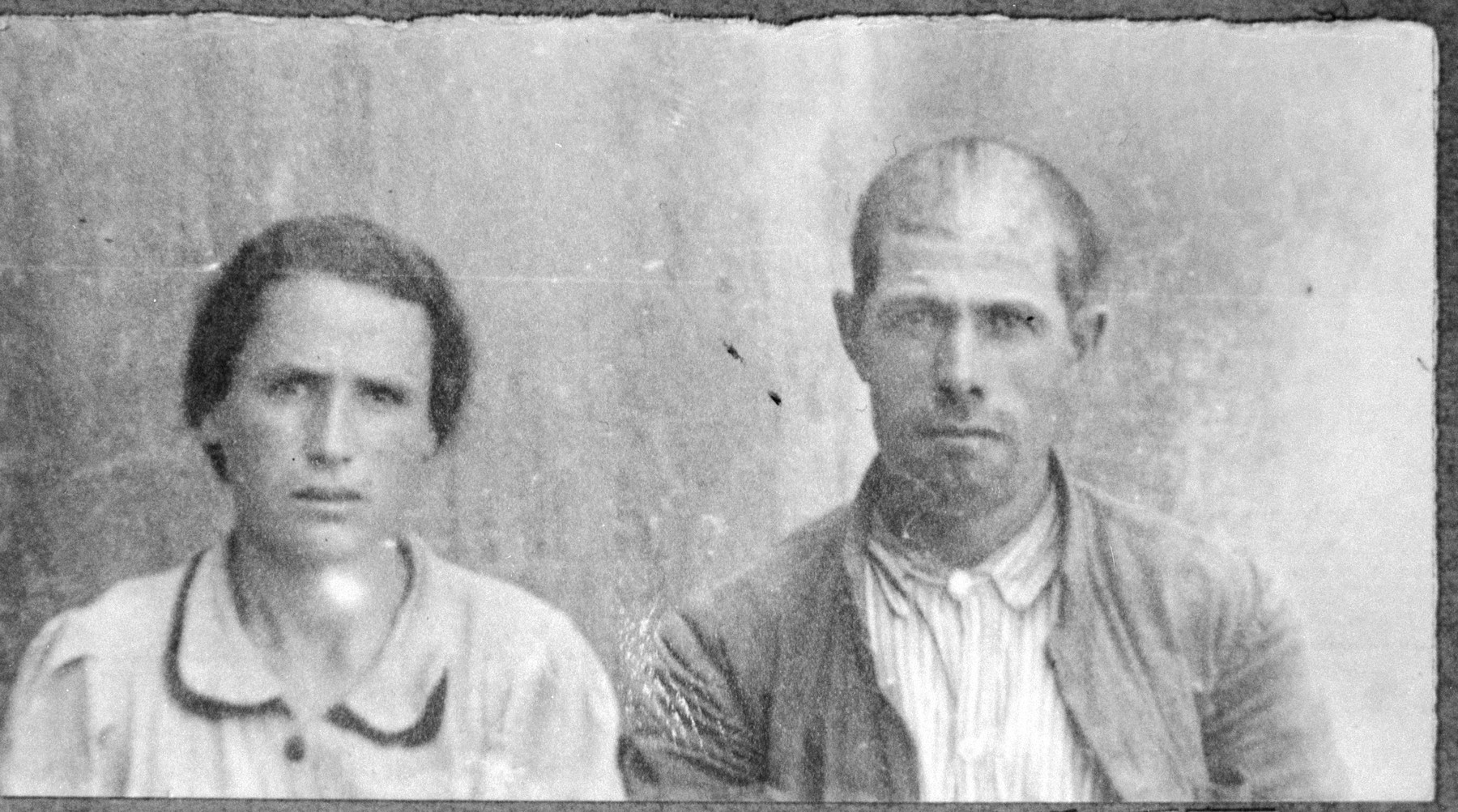 Portrait of Rafael (A.) Hasson and [his wife], Dona.  Rafael was a carpenter.  They lived at Drinska 119 in Bitola.