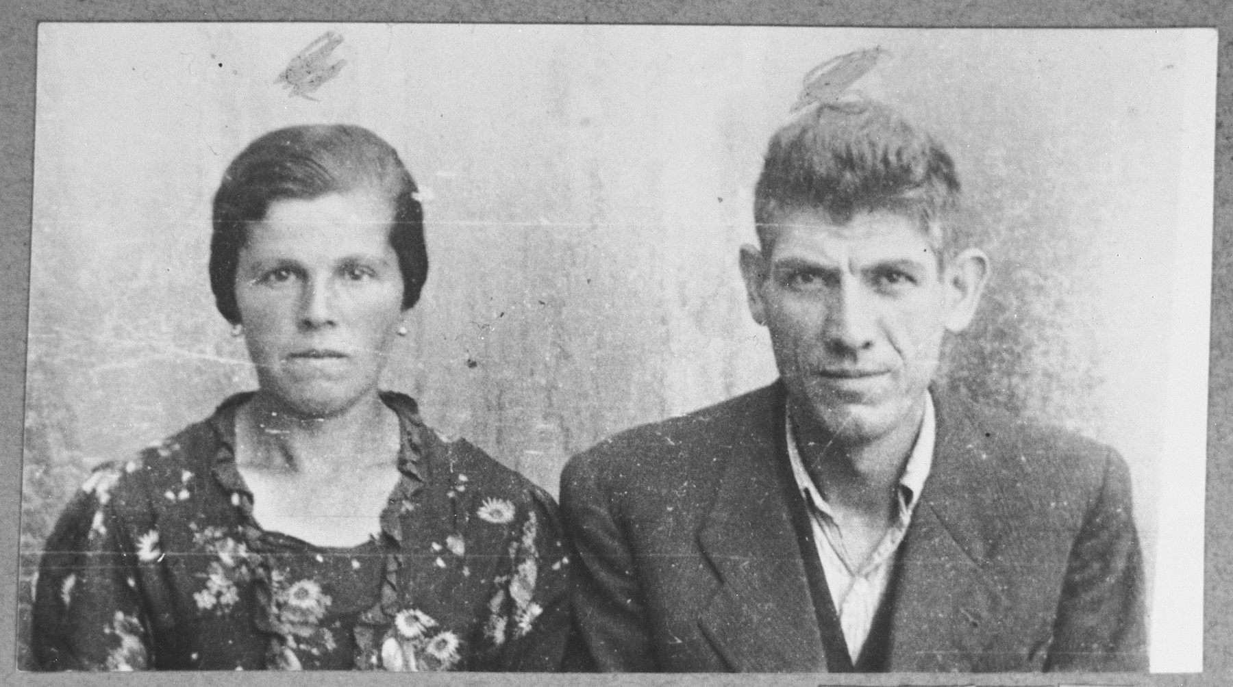 Portrait of Leon Hasson and his wife, Mathilda.  Leon was a tailor.  They lived at Rustitsa 40 in Bitola.