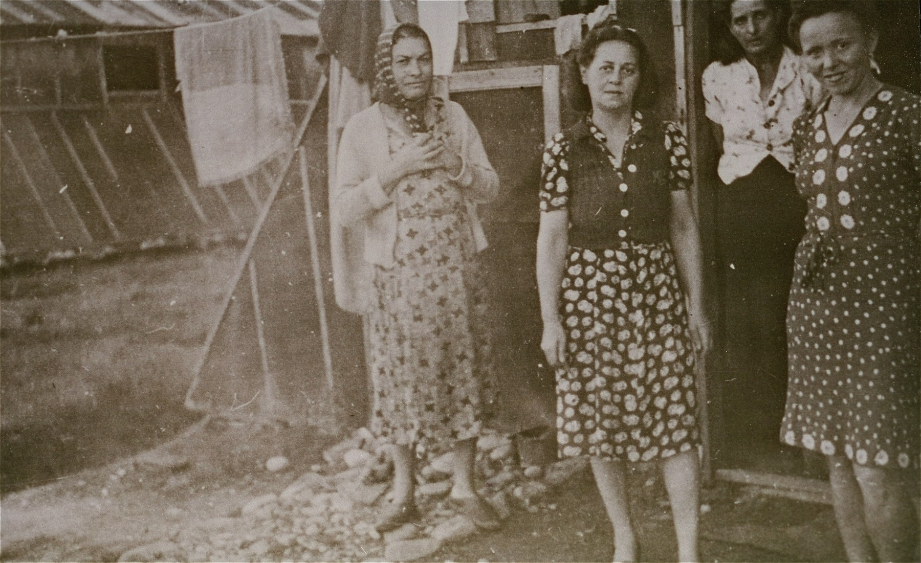 Women prisoners in the Gurs transit camp.  This photograph was shot secretly by Alice Resch-Synnestvedt during her stay in Gurs as a delegate of the American Friends Service Committee.