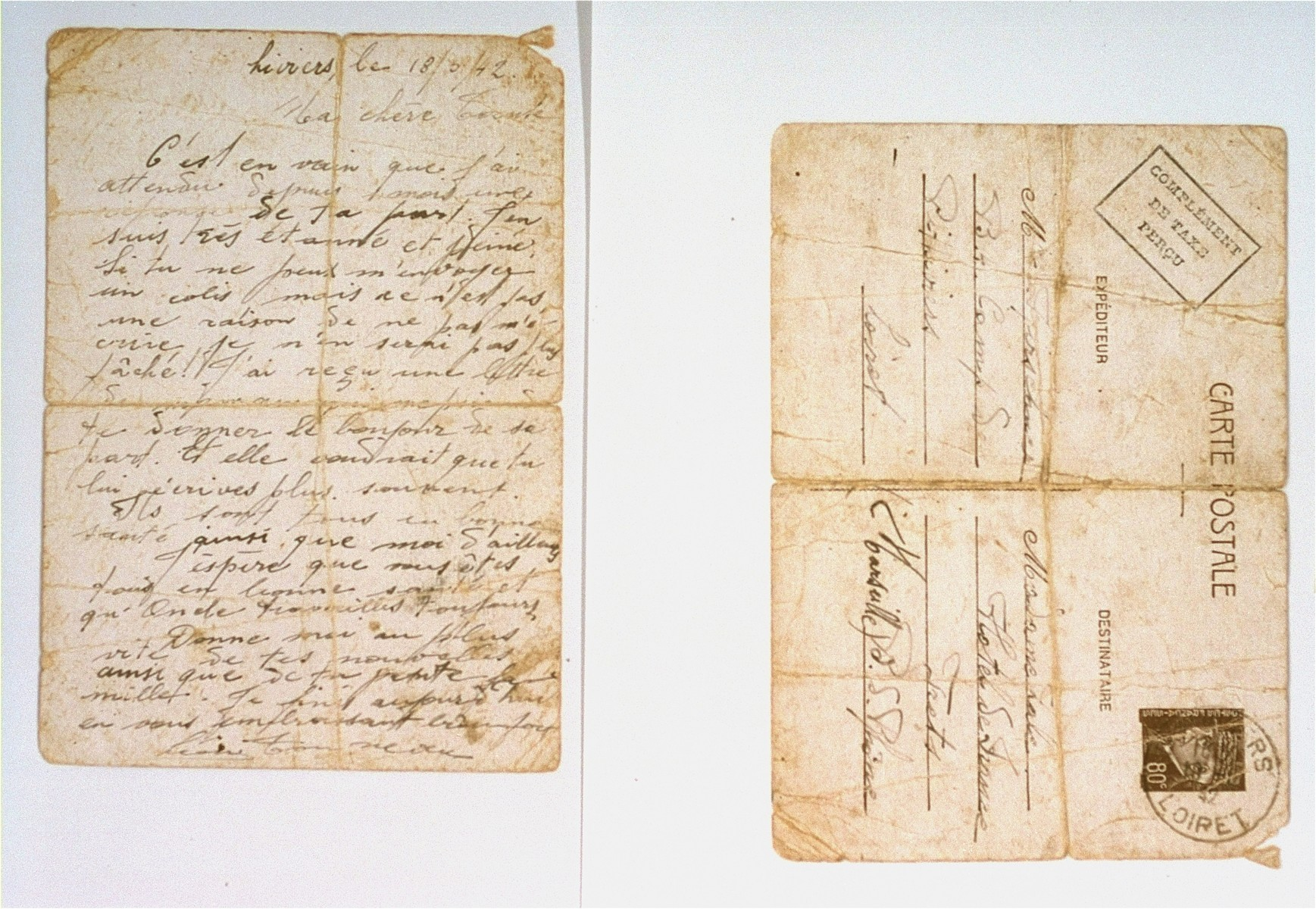 A letter from David Kierschner, a Belgian-Jewish prisoner in Pithiviers, to his brother-in-law, David Majer Zalc, c/o Madame Laville at the Hotel de France in Trets.