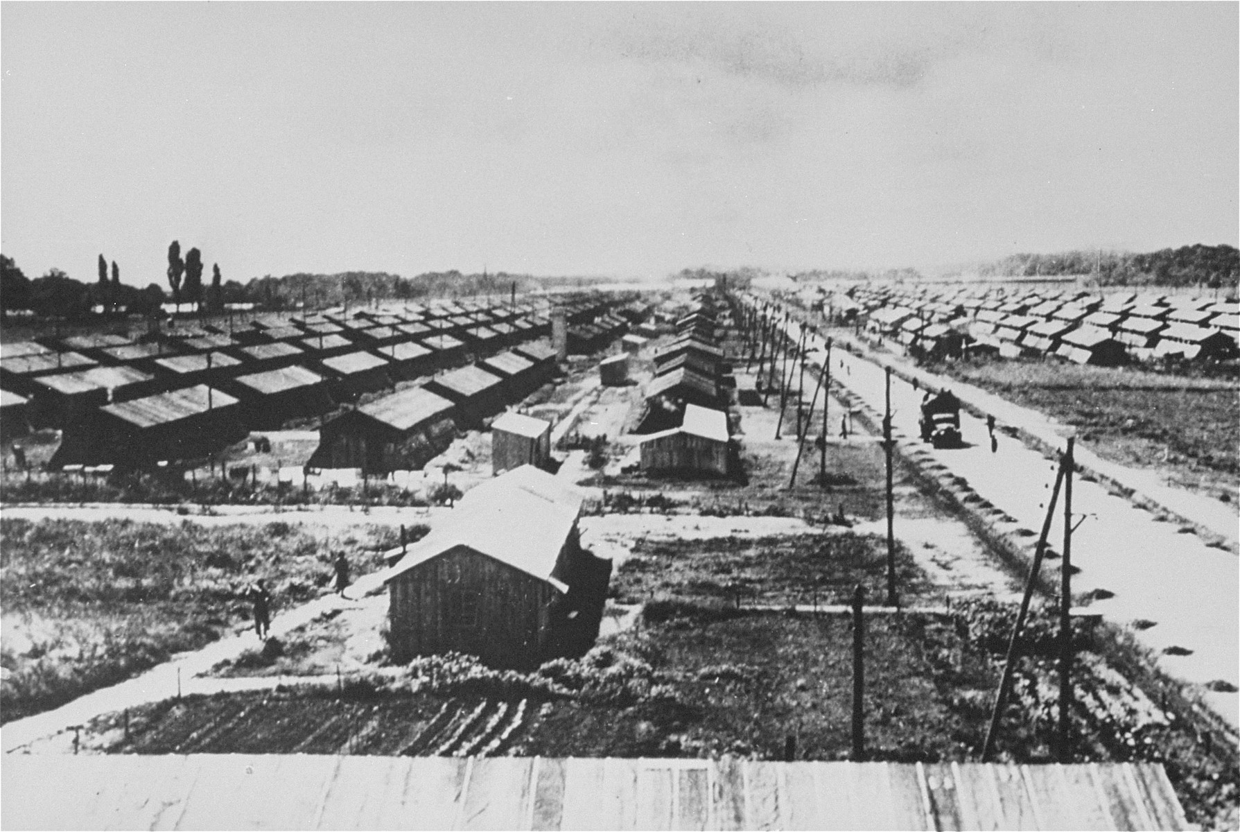 View of the Gurs transit camp from the camp water tower.
