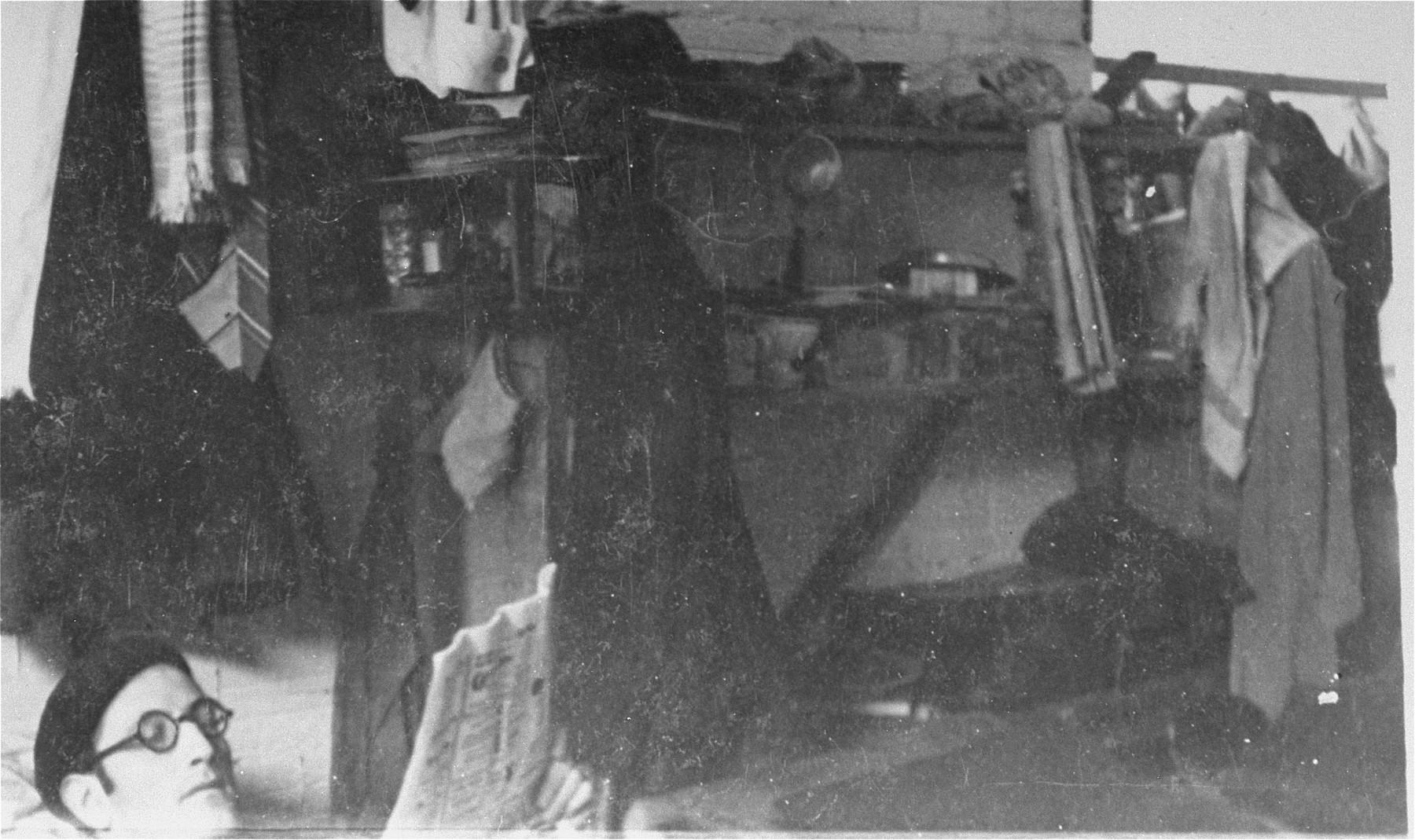 A prisoner in Les Milles reads in his barracks.