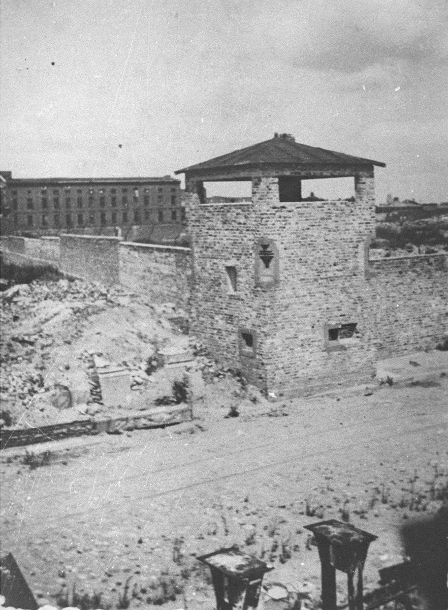 View of the ruins of the Warsaw ghetto.    Pictured is the watchtower of the Gesiowka concentration camp near the entrance to the Jewish cemetery.
