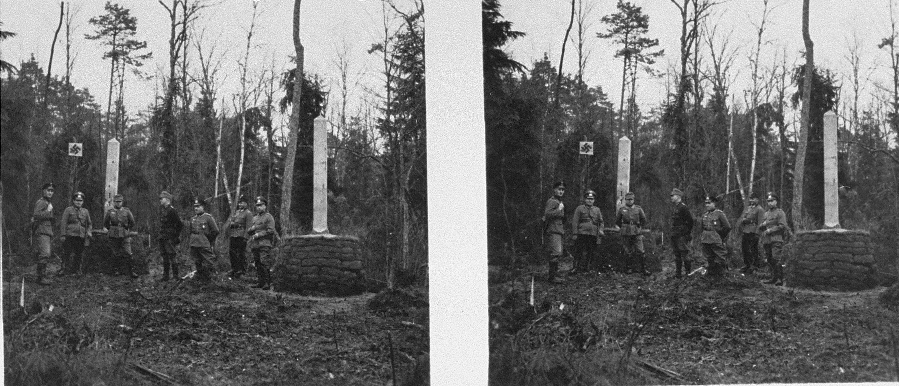 Steroscopic photo of Soviet and German troops standing  next to columns marking the demarcation line between Soviet and German-occupied Poland near the Lithuanian border.