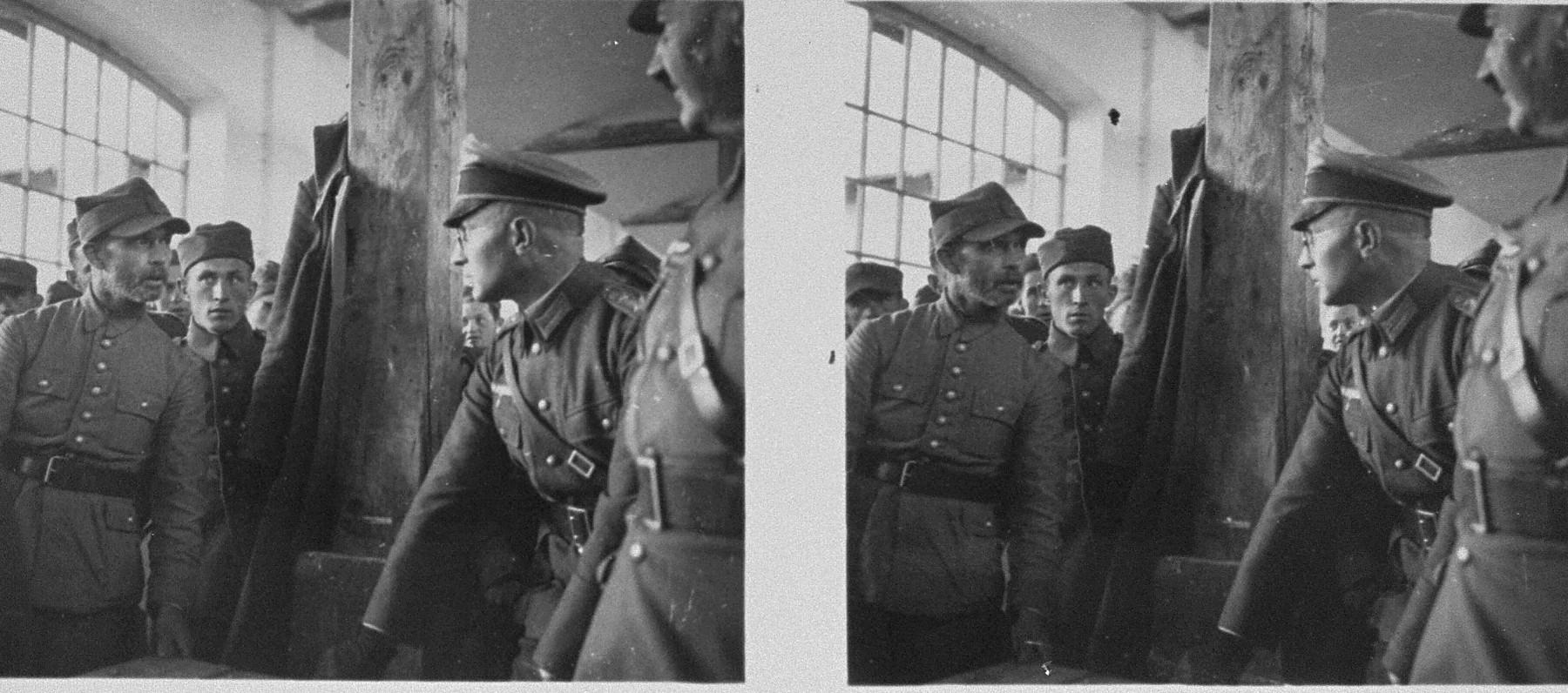 Stereoscopic photograph of German military officers interrogating Polish POWs.