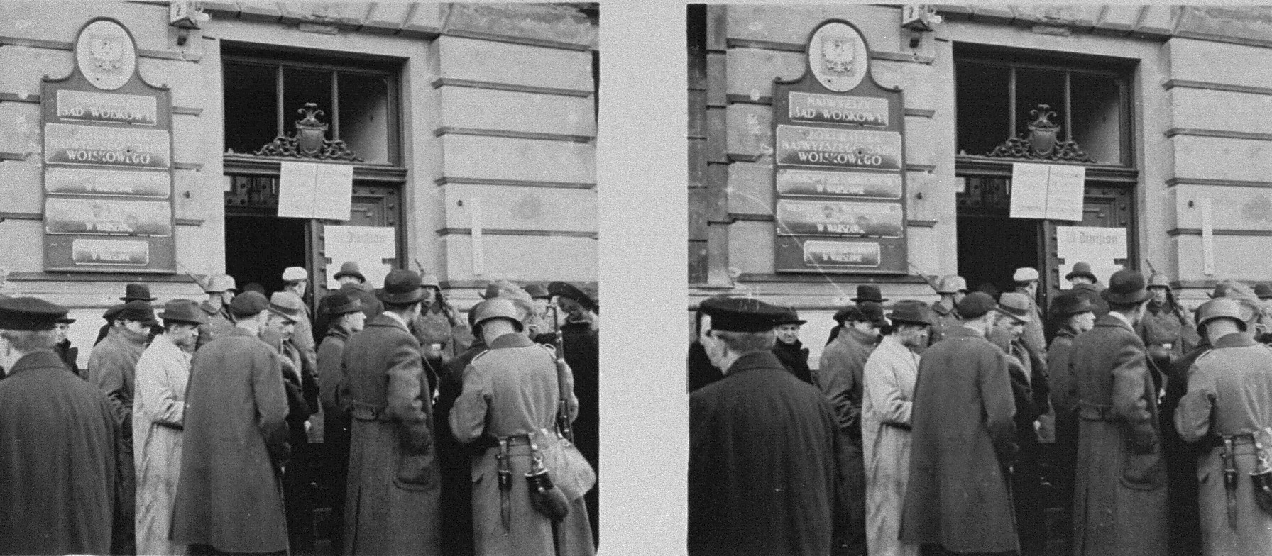 Stereoscopic photograph of Polish civilians gathering outside the headquarters of the 10th Infantry Division.