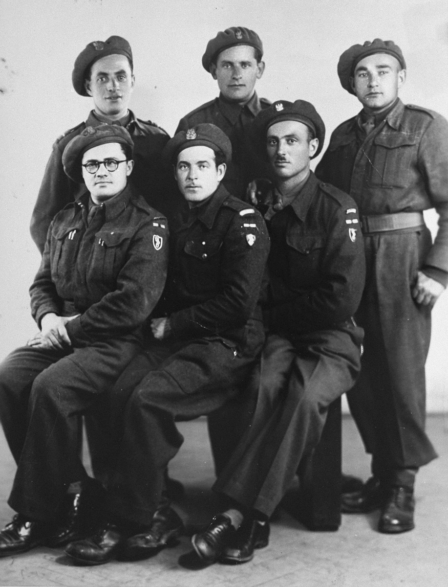 Group portrait of Jewish soldiers in the Anders Army, during the Allied invasion of Italy.    Among those pictured is Jack Roth.