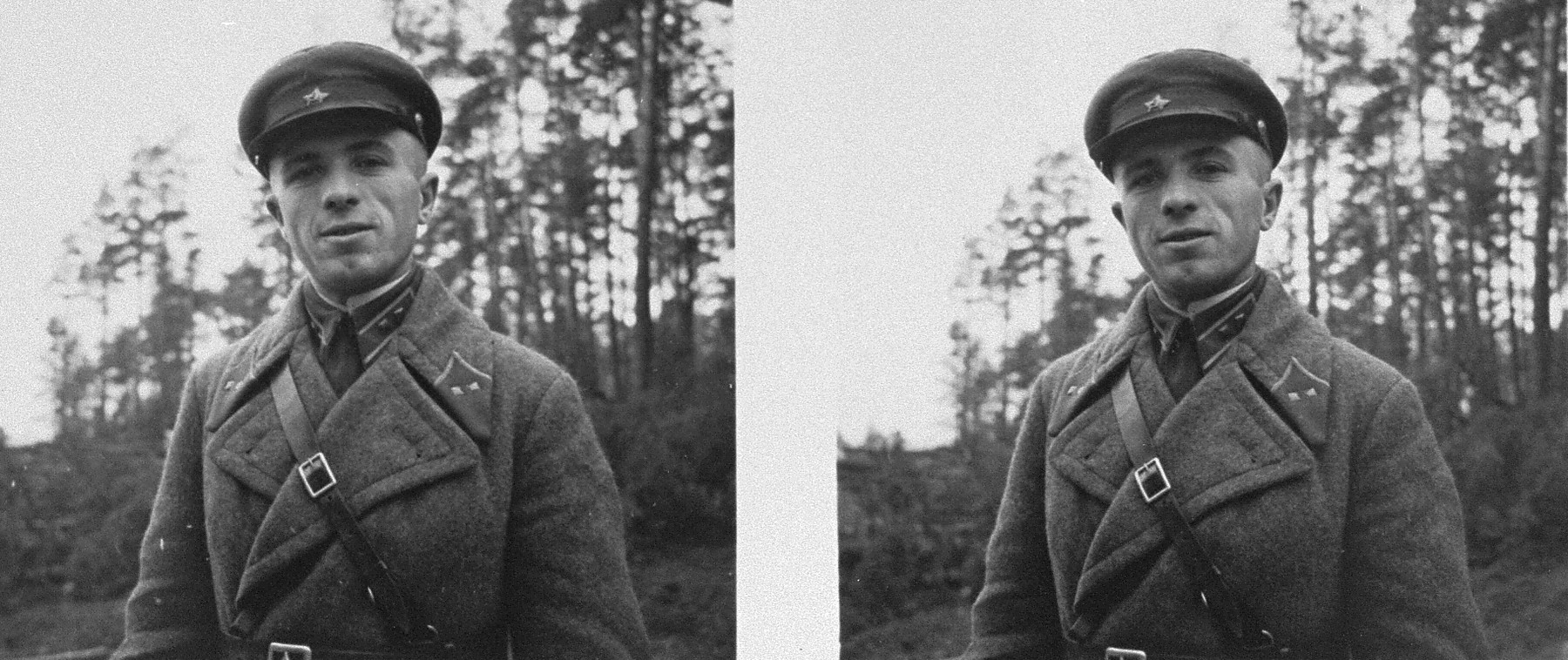 Stereoscopic portrait of a  Soviet military officer near the demarcation line between the Soviet and German-occupied sections of Poland.