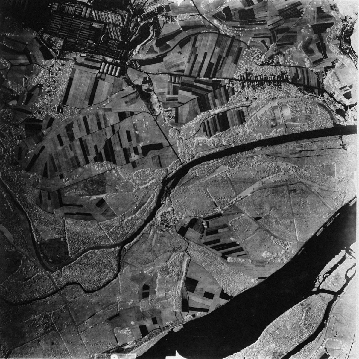 Aerial photograph of the Mauthausen sub-camp of Gusen. [Oversized Photo]