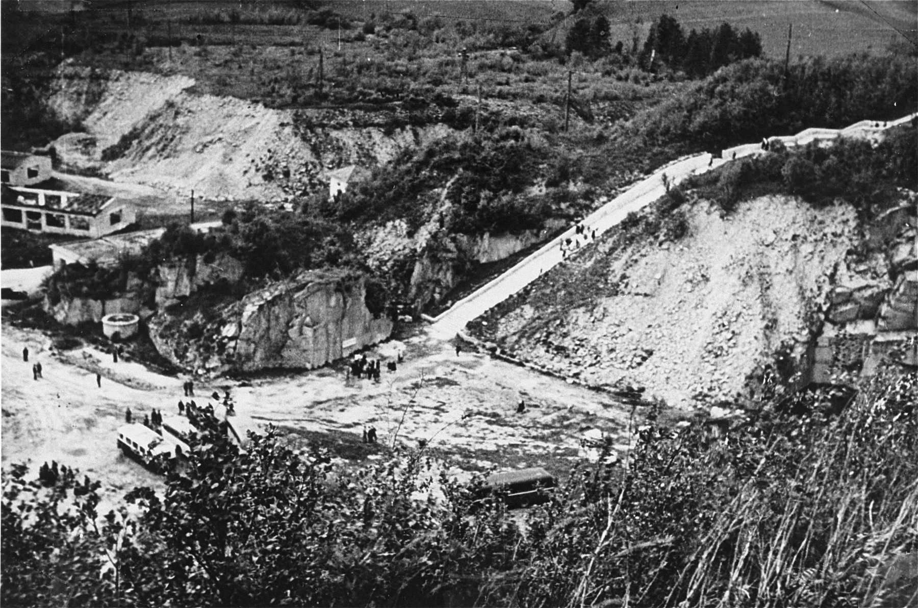 View of the Wiener Graben quarry at the Mauthausen concentration camp after the liberation.