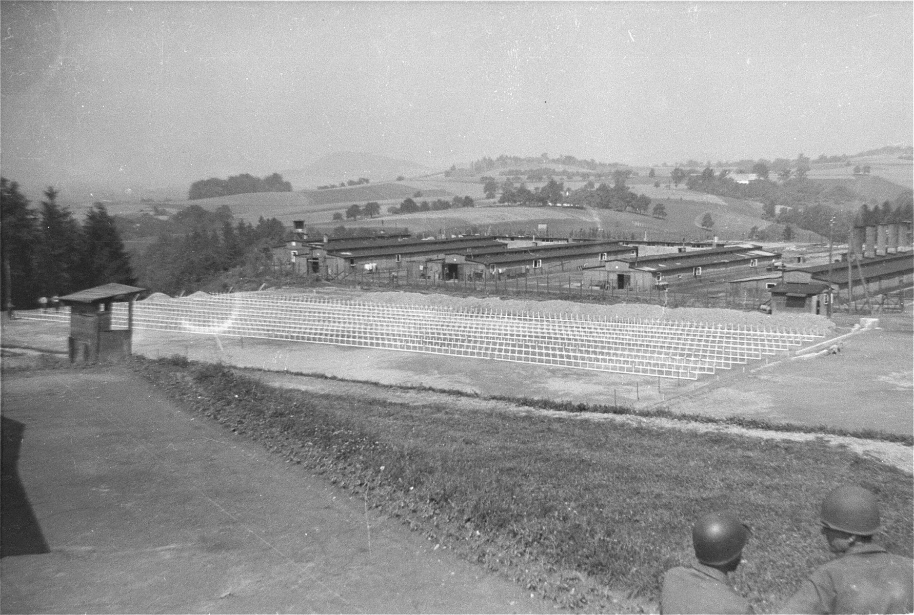 View of the cemetery at Mauthausen where nearly 3,000 corpses were buried.