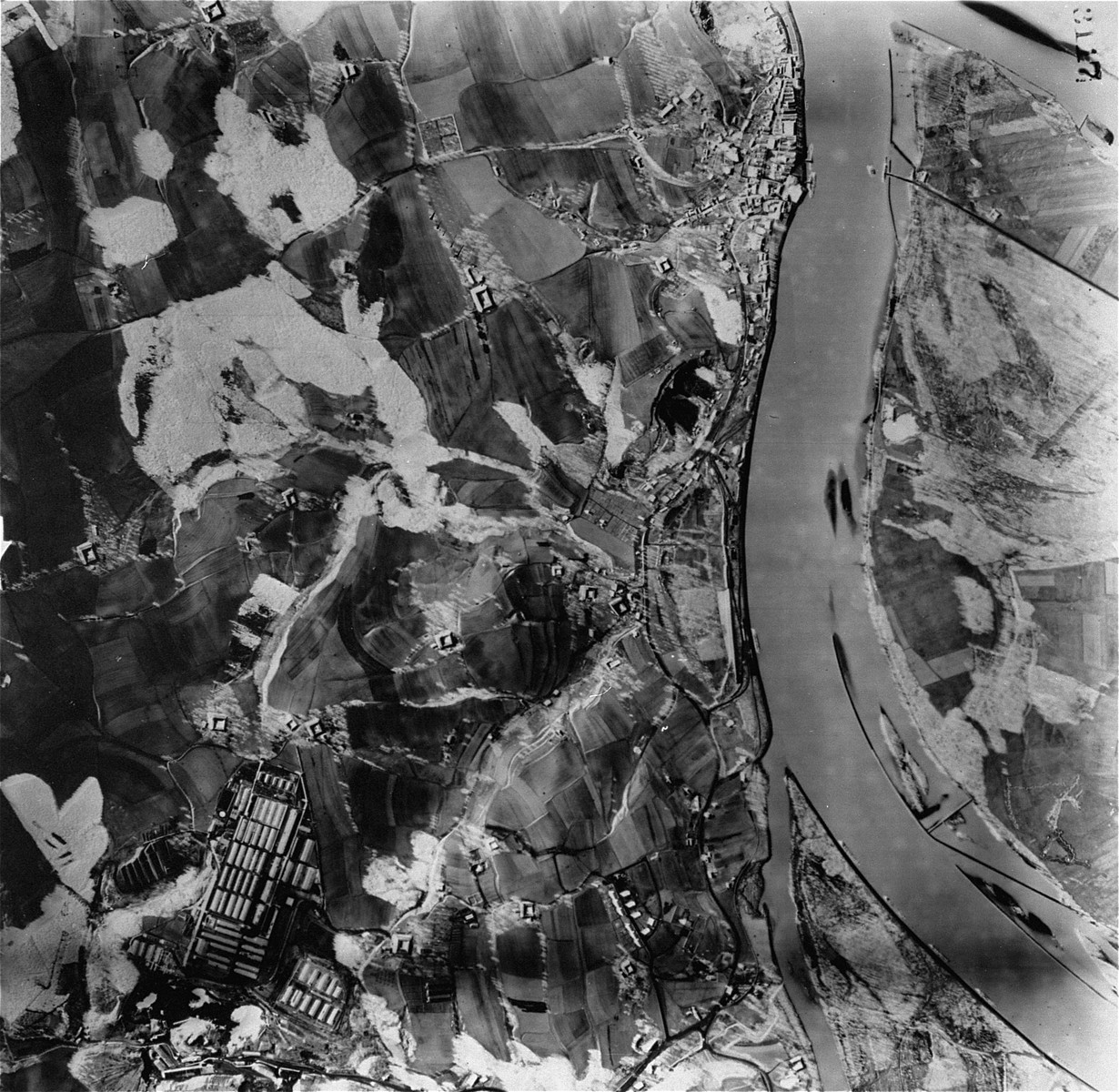 An aerial view of the Mauthausen area. [Oversized Photo]