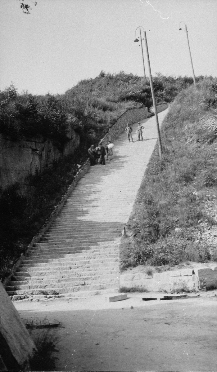 "American soldiers and survivors on the stone ""stairs of death"" (Todesstiege) in the Wiener Graben quarry at the Mauthausen concentration camp."