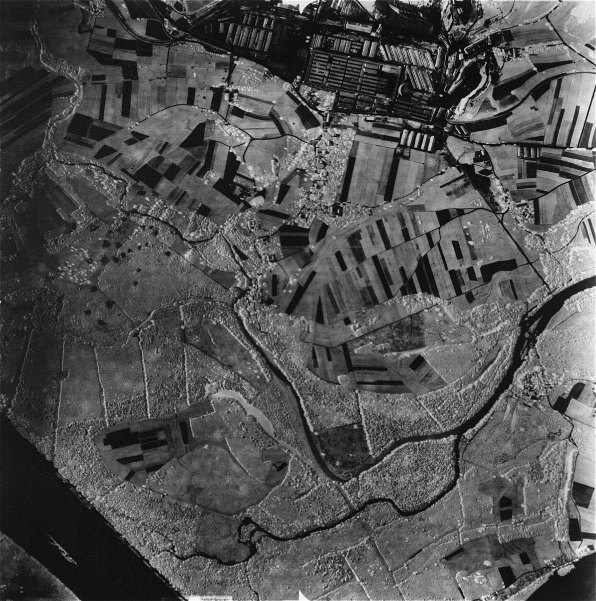 An aerial view of the Mauthausen sub-camp of Gusen. [Oversized Photo]