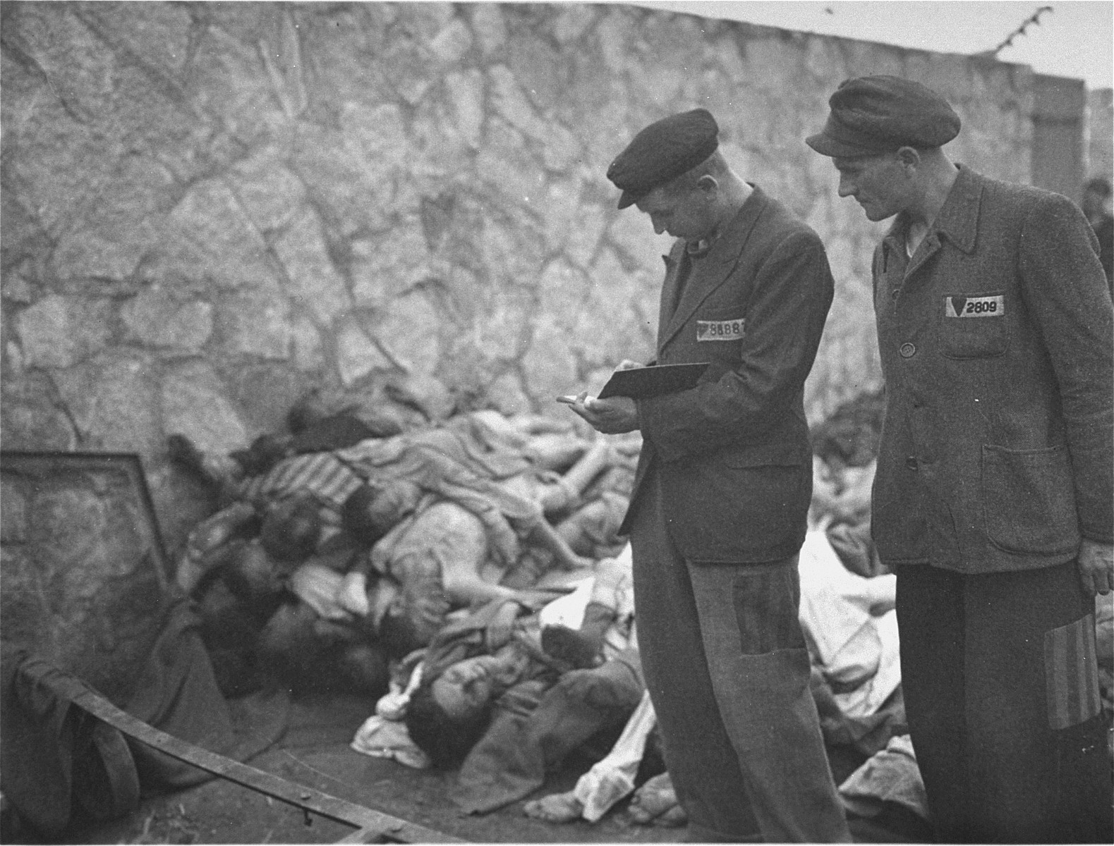 Survivors counting the corpses of prisoners killed in the Mauthausen concentration camp.