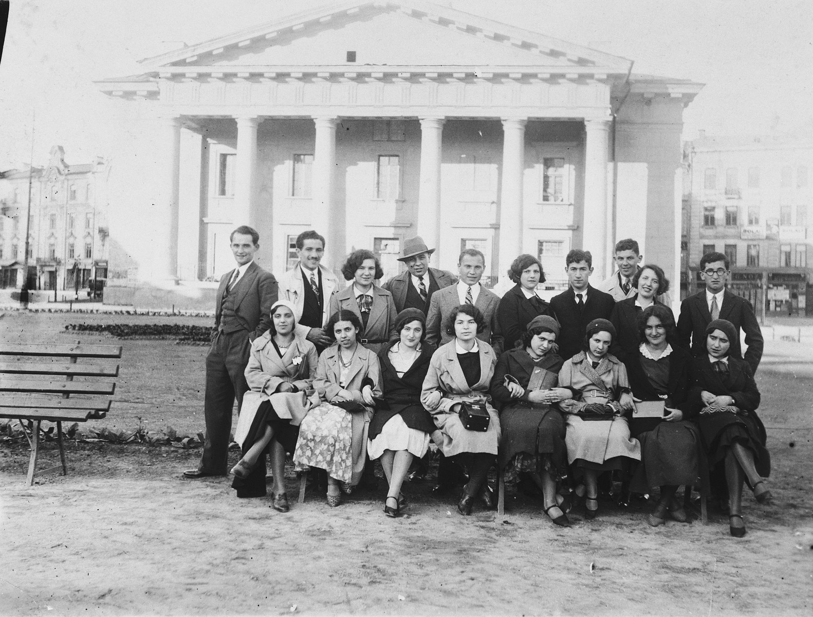 Group portrait of students of the Yiddish gymnasium in Vilna.  Among those pictured is Emma Puzarisky (front row, third from the right).