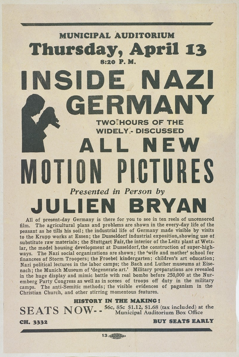 "Advertisement for a film and lecture entitled ""Inside Nazi Germany"" by film documentarian Julien Bryan to be presented at the St. Louis, MO, Municipal Auditorium on April 13, 1939."