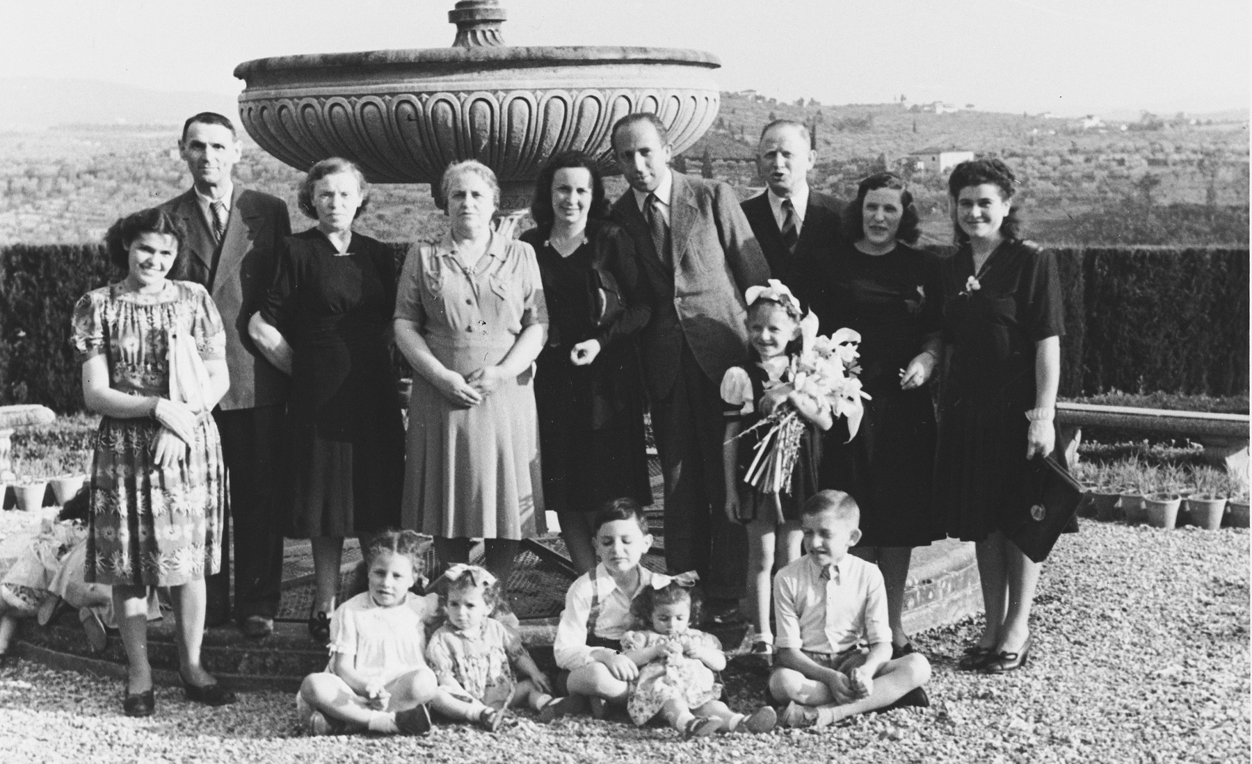 Group portrait of members of a kibbutz hachshara (Zionist collective) in Ponte Emma (near Florence).  Among those pictured are members of the Telerant and Puzarisky families.