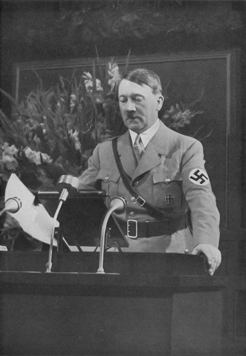 Chancellor Adolf Hitler opens Reichsparteitag (Reich Party Day) ceremonies with an address at the historic town hall in Nuremberg.