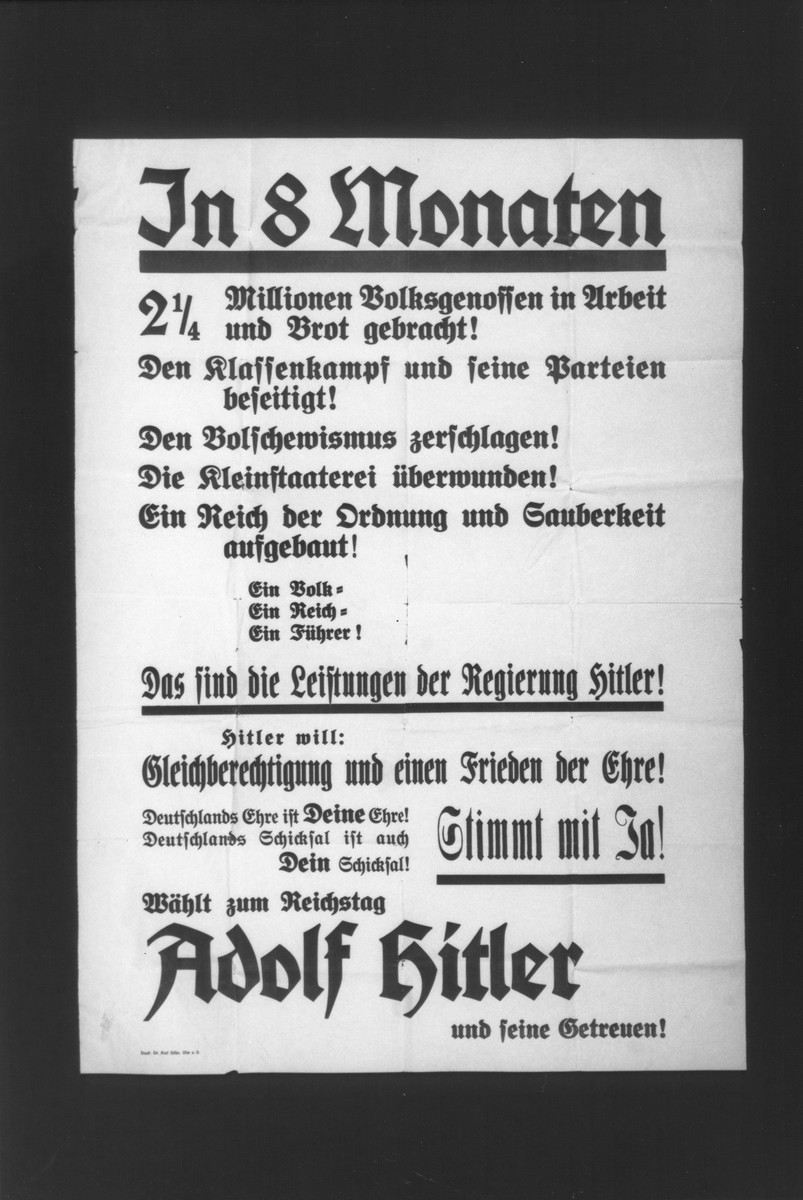"NSDAP election poster entitled ""In 8 Months,"" listing the major successes of the Nazi regime."