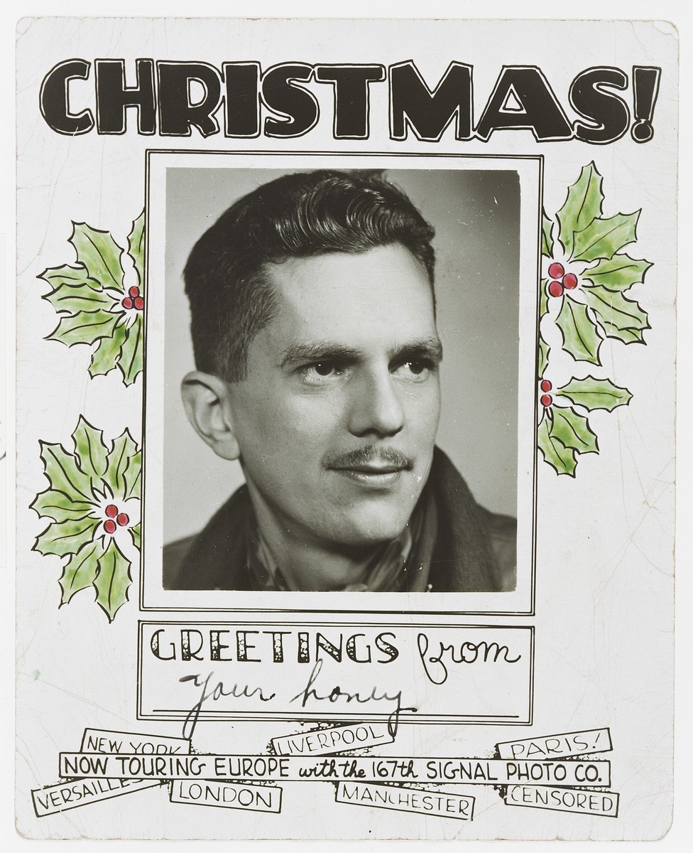 Personalized Christmas greeting card featuring a portrait of U.S. Army combat photographer Arnold E. Samuelson that was sent by Samuelson from Europe to his wife in the U.S.