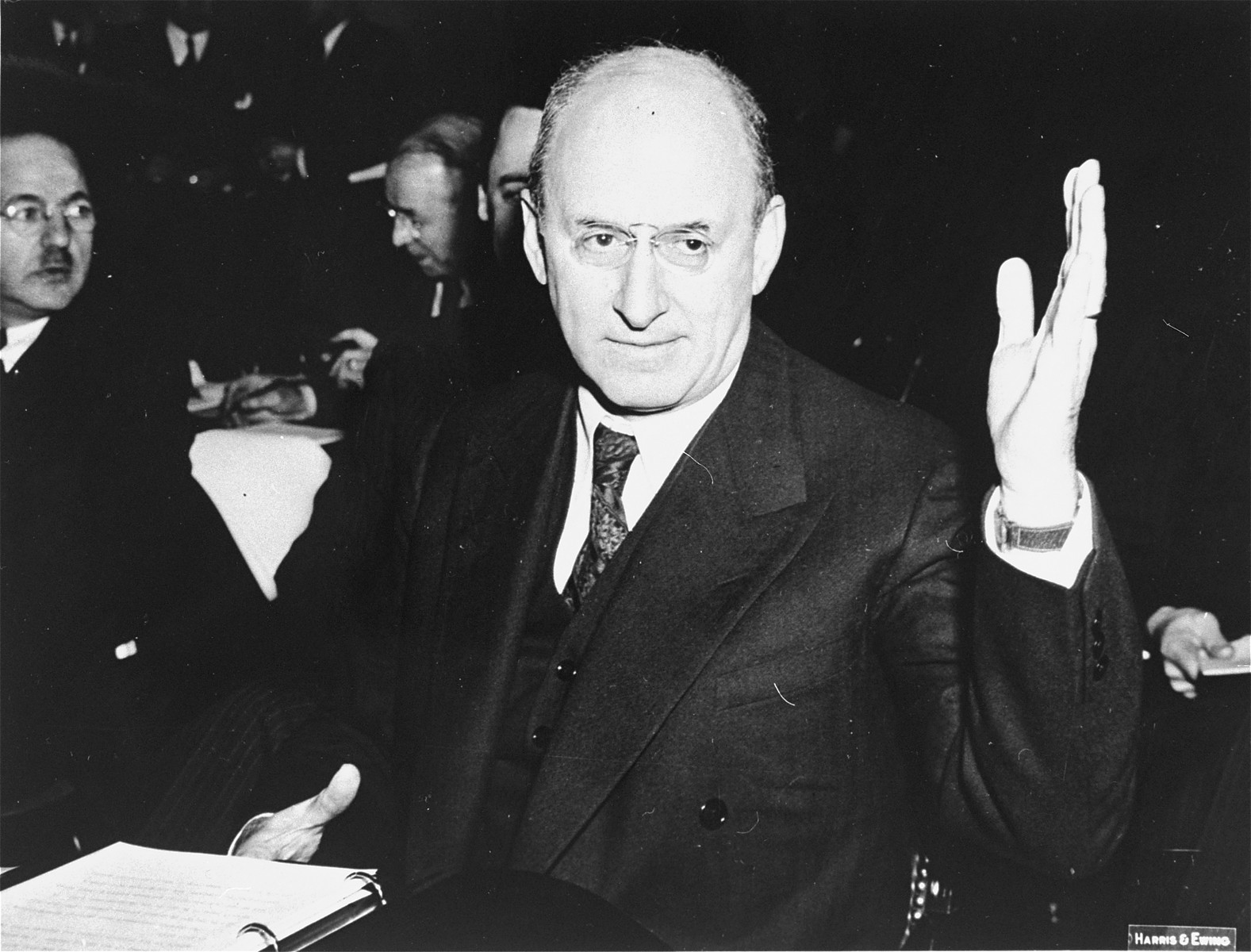 "Henry Morgenthau testifies before the Senate Foreign Relations Commission in support of the Lend-Lease bill to aid Britain.  Henry Morgenthau Jr. (1891-1967). Secretary of the Treasury under Franklin Roosevelt, and highest ranking Jew in the administration.  In January 1944, after receiving a report prepared by his subordinates on ""the acquiescence of this government in the murder of the Jews,"" Morgenthau wrote a personal report to the President which led to the establishment of the War Refugee Board.  After the war he became Chairman of the UJA (1946-50) and became involved with many Zionist causes."