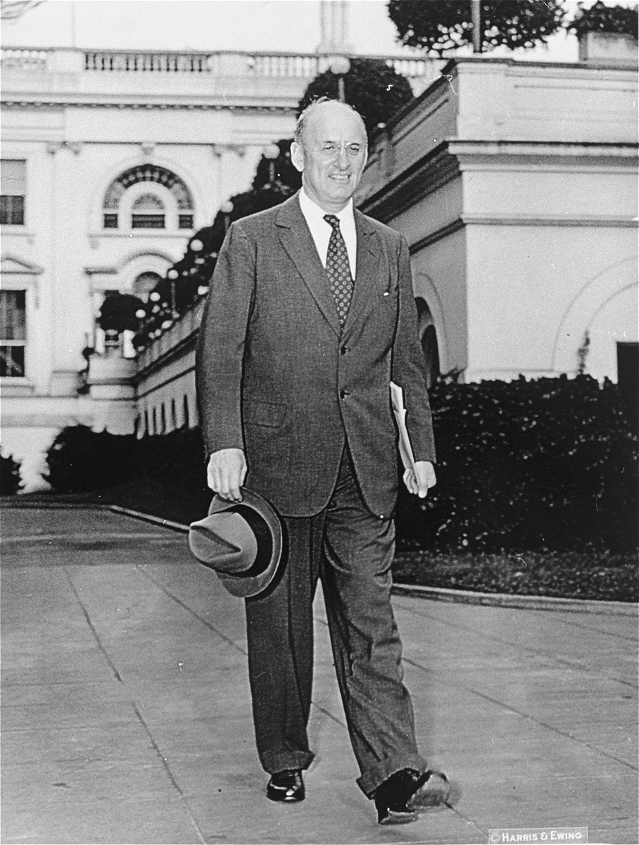 Henry Morgenthau Jr. attends an emergency cabinet meeting on Sept.9, 1939, called by President Roosevelt.   Morgenthau was in Europe when war was declared and arrived back on Sept.3.