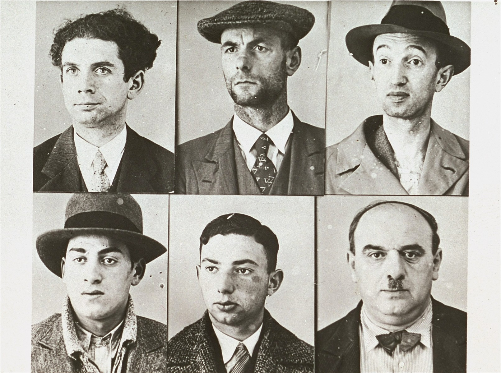 "Six mug shots of ""typical"" Jews, probably taken by the Berlin police."