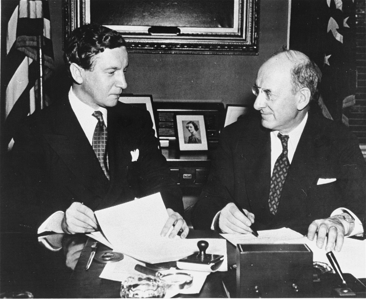 """Henry Morgenthau Jr. (1891-1967). Secretary of the Treasury under Franklin Roosevelt, and highest ranking Jew in the administration.     In January 1944, after receiving a report prepared by his subordinates on """"the acquiescence of this government in the murder of the Jews,"""" Morgenthau wrote a personal report to the President which led to the establishment of the War Refugee Board.   After the war he became Chairman of the UJA (1946-50) and became involved with many Zionist causes."""